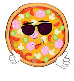 Chłodno pizzy kreskówka Obrazy Royalty Free