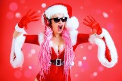 Chłodno Santa dziewczyna dj Zdjęcie Stock