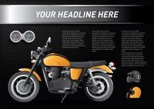 Chłodno set motocykl z szybkościomierzem i hełmy na czarnym tle ilustracji