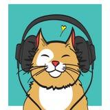 Chłodno wektorowa sztuka kot z hełmofonem muzyczny obrazek, eps 10 na warstwach Zdjęcia Stock