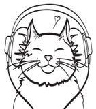 Chłodno wektorowa sztuka kot z hełmofonem muzyczny obrazek, eps 10 na warstwach Fotografia Royalty Free