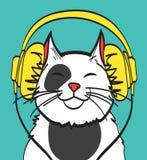 Chłodno wektorowa sztuka kot z hełmofonem muzyczny obrazek, eps 10 na warstwach Obrazy Royalty Free