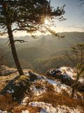Chłodny jesienny mgłowy pogodowy bellow szczyt Odsłonięte skały zdjęcia stock