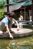 chłopak czeka ryby jego płyń netto Zdjęcie Royalty Free