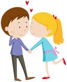 chłopak dziewczyna jej całowanie royalty ilustracja