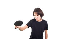 chłopak gra w tenisa stołowego Zdjęcie Royalty Free