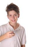 chłopak słuchał muzyki young pionowe Fotografia Stock