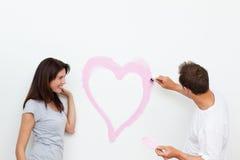 chłopaka serce obraz jej przyglądająca kobieta obraz stock