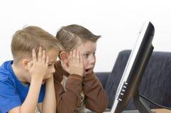 chłopcy monitor płaskie serii Fotografia Stock