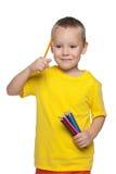 chłopcy tła odseparowana nad białymi trochę ołówkami zdjęcie royalty free