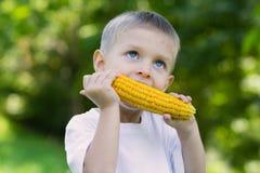 Chłopiec łasowania kukurudza zdjęcia royalty free