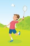 Chłopiec bawić się badminton Zdjęcia Royalty Free