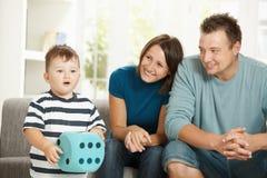 chłopiec bawić się kostkowy mały Zdjęcia Royalty Free