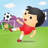 Chłopiec Bawić się piłkę nożną na polu piłka nożna gracza również zwrócić corel ilustracji wektora Zdjęcia Stock