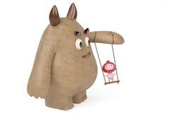 Chłopiec bawić się w huśtawce z drewnianym potworem, 3D ilustracja Obraz Stock