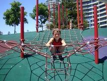 Chłopiec bawić się w pająk sieci obrazy stock