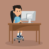 Chłopiec bawić się wideo gry komputer online Fotografia Stock