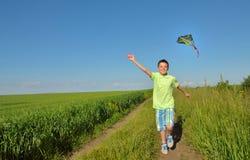 Chłopiec bawić się z kanią na greenfield zdjęcie royalty free