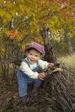 Chłopiec bawić się z liśćmi przy jesień parkiem Zdjęcia Stock