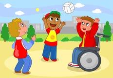Chłopiec bawić się z piłką ilustracja wektor