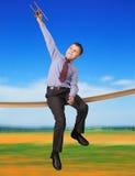 Chłopiec bawić się z samolotu modelem Fotografia Stock
