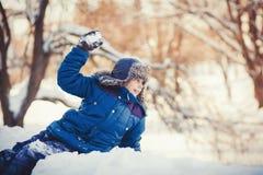 Chłopiec bawić się zima parka Obraz Stock