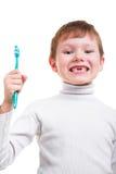 Chłopiec bez dziecko zębów z toothbrush Obrazy Stock