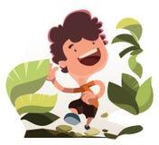 Chłopiec bieg w natury ilustraci postać z kreskówki Obrazy Royalty Free