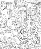 chłopiec boże narodzenia dekorują jego pokój ilustracji