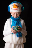 Chłopiec Bożenarodzeniowy kostiumowy bałwan Fotografia Royalty Free