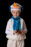 Chłopiec Bożenarodzeniowy kostiumowy bałwan Zdjęcia Royalty Free
