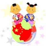 chłopiec chiński dziewczyny wektor ilustracja wektor