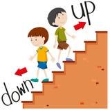 Chłopiec chodzi w górę i na dół ilustracja wektor