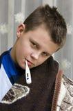 chłopiec choroby termometr fotografia royalty free