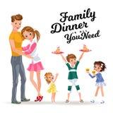 Chłopiec chwytów talerz w rękach taktuje dziewczyny, dzieci je cukierki na gościu restauracji, rodzinnego brata i dwa siostr w su ilustracji