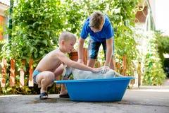 Chłopiec cieszy się myjący ich psa zdjęcie royalty free