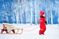 Chłopiec cieszy się sanie przejażdżkę Dziecka sledding Zdjęcia Royalty Free