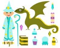 Chłopiec czarownik royalty ilustracja