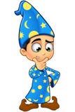 Chłopiec czarownik W błękicie - Myśleć Zdjęcie Stock