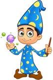 Chłopiec czarownik W błękicie - Z kryształowymi kulami Obrazy Stock