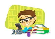 Chłopiec czyta cyfrową książkę Obrazy Royalty Free
