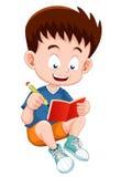 Chłopiec czytania otwarta książka ilustracji