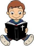 Chłopiec czytelnicza biblia royalty ilustracja