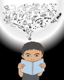 Chłopiec czytelnicza książka royalty ilustracja