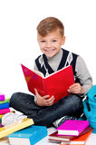 Chłopiec czytelnicza książka Zdjęcie Stock