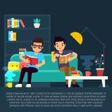 Chłopiec czytelnicze książki w żywym pokoju royalty ilustracja