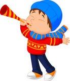 Chłopiec dmuchania trąbka ilustracji