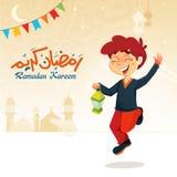 Chłopiec doskakiwanie z Latarniowym Świętuje Ramadan Obraz Royalty Free