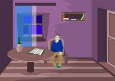 Chłopiec dostać złe oceny smutnym czekaniem dla rodziców z pracą i jest ilustracji