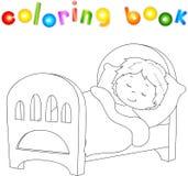 Chłopiec dosypianie na łóżku z koc i poduszką ilustracja wektor
